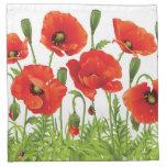 Horizontal border with red poppy cloth napkin