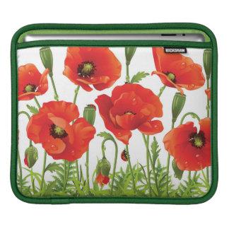 Horizontal border with red poppy iPad sleeve