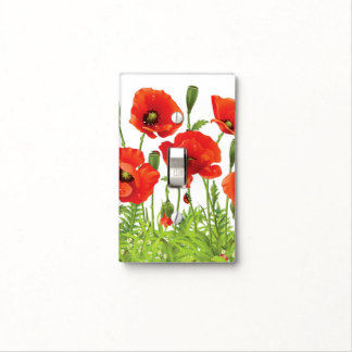 Horizontal border with red poppy light switch plates