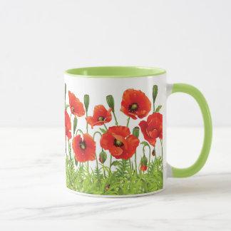 Horizontal border with red poppy mug