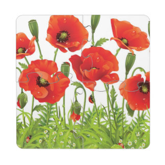Horizontal border with red poppy puzzle coaster