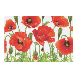 Horizontal border with red poppy placemat