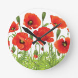 Horizontal border with red poppy round clock