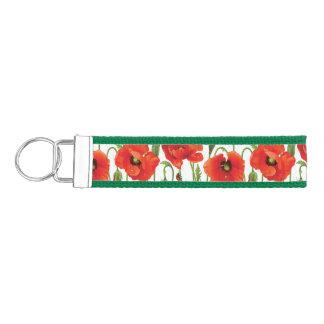 Horizontal border with red poppy wrist keychain