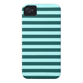 Horizontal Broad Stripes - Celeste and Deep Jungle iPhone 4 Cases