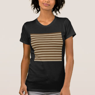 Horizontal Broad Stripes - Khaki and Dark Brown T-Shirt