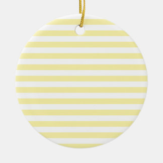 Horizontal Broad Stripes - Light Yellow and Corn Double-Sided Ceramic Round Christmas Ornament