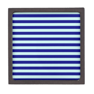 Horizontal Broad Stripes - Pale Blue and Navy Blue Premium Jewelry Boxes