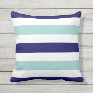 horizontal large blue (2 tones) striped outdoor pillow