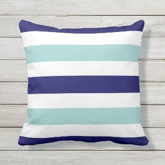 horizontal large blue (2 tones) striped throw pillow