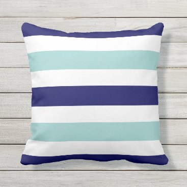 Beach Themed horizontal large blue (2 tones) striped throw pillow