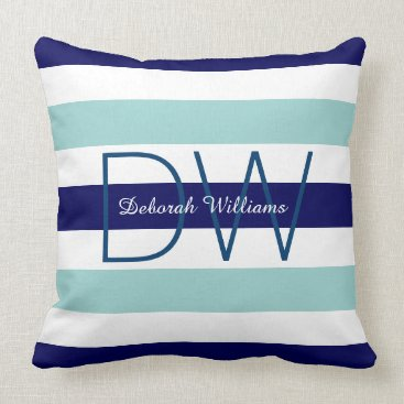 Beach Themed horizontal large blue (2 tones) stripes & monogram throw pillow