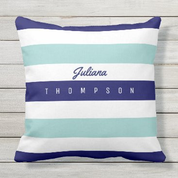 Beach Themed horizontal large blue (2 tones) stripes with name outdoor pillow