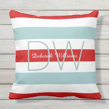 Beach Themed horizontal large blue red stripes & monogram outdoor pillow