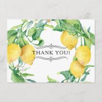 Horizontal Lemon Floral Thank You Notes Citrus Art