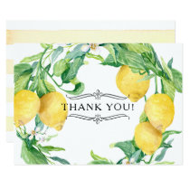 Horizontal Lemon Floral Thank You Notes Citrus Art Invitation