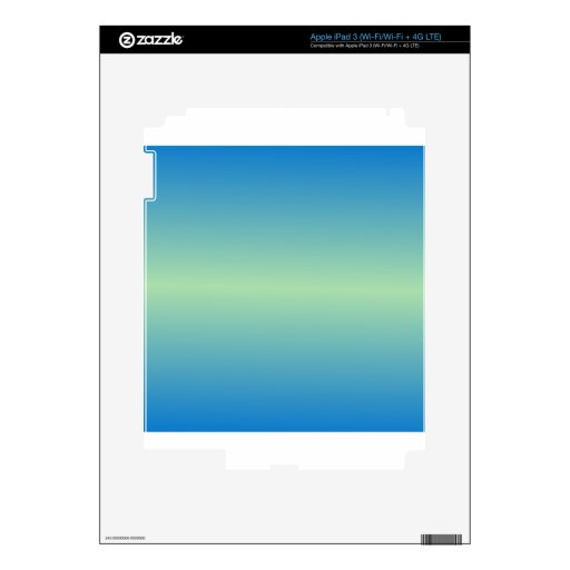 Horizontal Light Moss Green and True Blue Gradient Skin For iPad 3