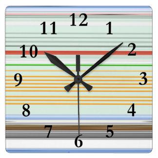 Horizontal lists square wall clock