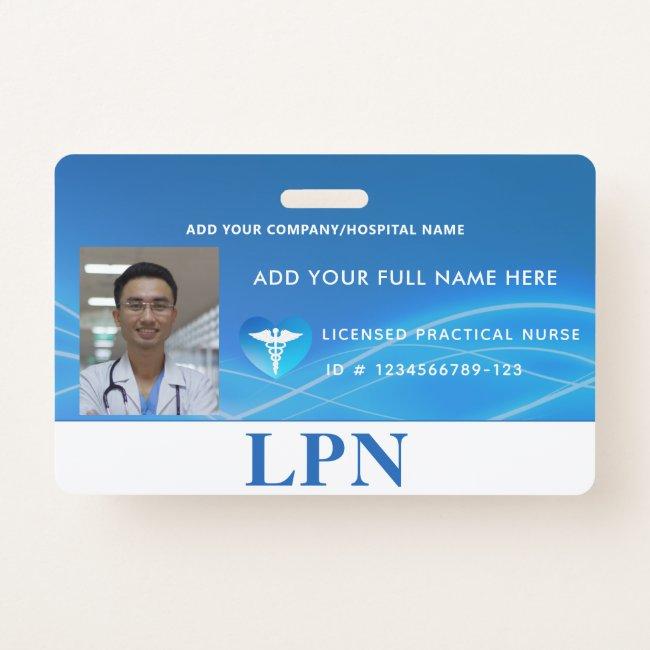 Horizontal LPN License Practical Nurse, Photo ID Badge
