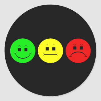 Horizontal Moody Stoplight Lefty Green Classic Round Sticker
