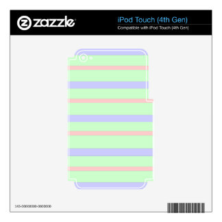 Horizontal Pastel Stripes Skins For iPod Touch 4G