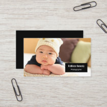 Horizontal Photo Baby Photographer Modern Minimal Business Card