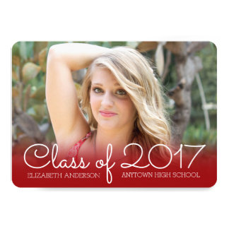 Horizontal Photo Graduation Red Class of 2017 Card
