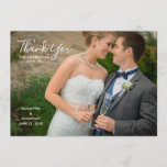 """Horizontal Photo Wedding Thank You<br><div class=""""desc"""">This wedding thank you features a photo frame that fills the front of the card. Trendy handwritten style text is used for the words &quot;Thank You&quot;. Custom text allows you to add a message,  names of bride and groom and their wedding date.</div>"""
