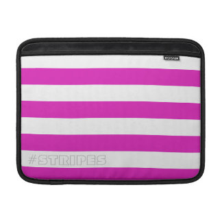 Horizontal Pink Stripes on Custom Color and Text MacBook Air Sleeve