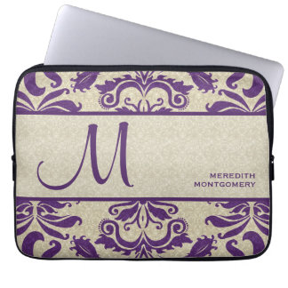 Horizontal Purple Vintage Damask Swirls Monogram Laptop Sleeve