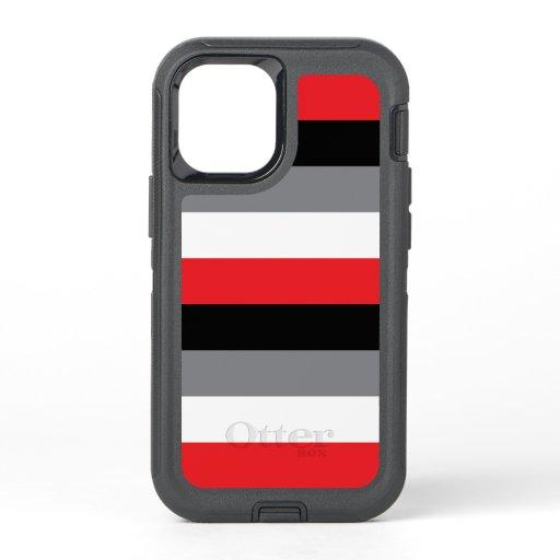 Horizontal Red Black White Gray Stripe Pattern OtterBox Defender iPhone 12 Mini Case
