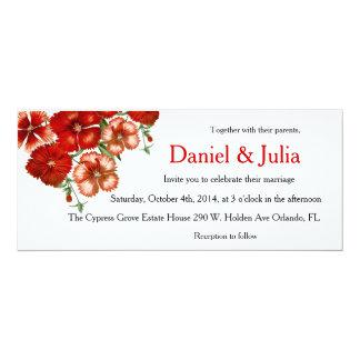 Horizontal red carnation wedding invitation
