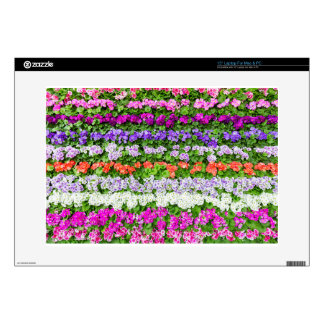 Horizontal rows of various colored flowers laptop decals