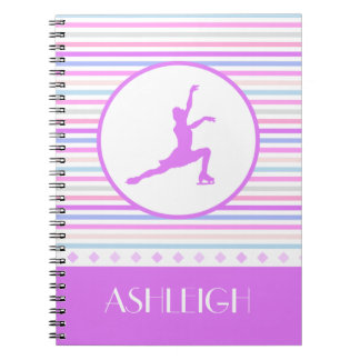 Horizontal Stripe Figure Skating with Monogram Notebook