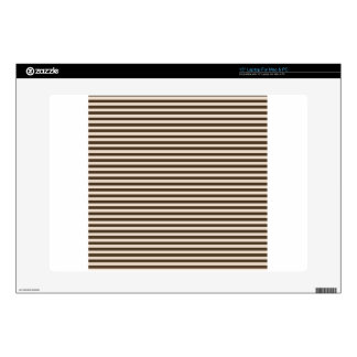 Horizontal Stripes - Almond and Cafe Noir Laptop Skins