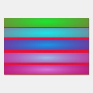 Horizontal Stripes Art Red Yard Signs