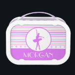 """Horizontal Stripes Ballerina Dancer with Monogram Lunch Box<br><div class=""""desc"""">Ballet Dancer lunch box with horizontal stripes in purple,  green,  blue,  peach,  pink,  and white.  It also has a large circle with a purple ballerina silhouette.  Add your own text before ordering! &#169;gollygirls.com</div>"""