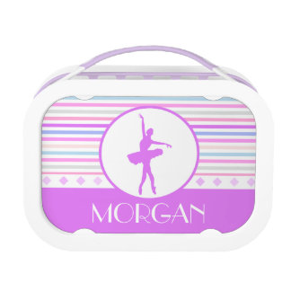 Horizontal Stripes Ballerina Dancer with Monogram Replacement Plate