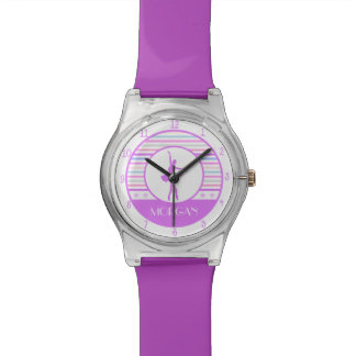Horizontal Stripes Ballerina Dancer with Monogram Wristwatch
