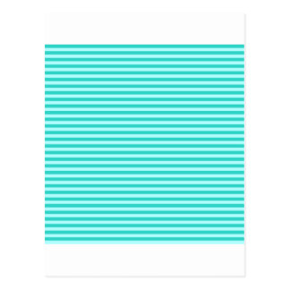 Horizontal Stripes - Cyan - Celeste and Turquoise Postcard