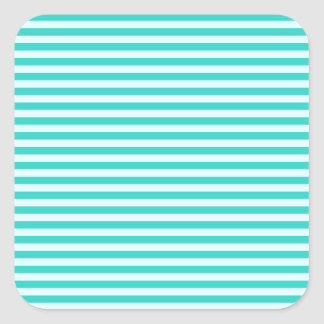 Horizontal Stripes - Cyan - Celeste and Turquoise Square Sticker