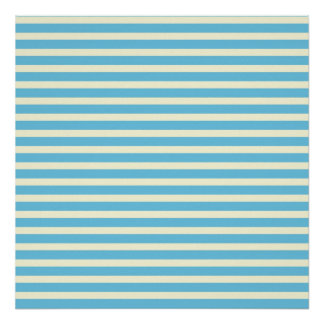 Horizontal Stripes Faded Yellow, Blue Pattern Gift Poster