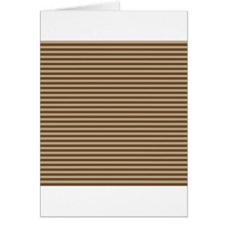 Horizontal Stripes - Khaki and Dark Brown Greeting Cards