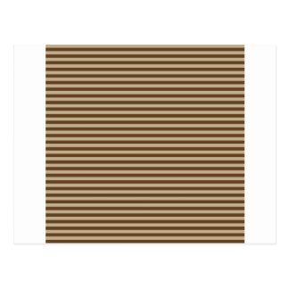 Horizontal Stripes - Khaki and Dark Brown Postcard