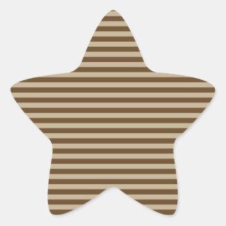 Horizontal Stripes - Khaki and Dark Brown Star Stickers