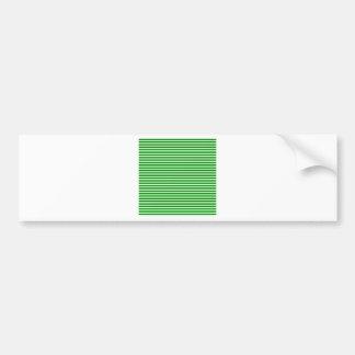 Horizontal Stripes - Offwhitegreen and Green Car Bumper Sticker