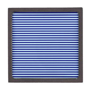 Horizontal Stripes - Pale Blue and Navy Blue Premium Jewelry Box