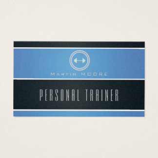 Horizontal stripes ribbon sky and dark blue business card