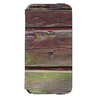 Horizontal timber wall with green mold iPhone 6/6s wallet case