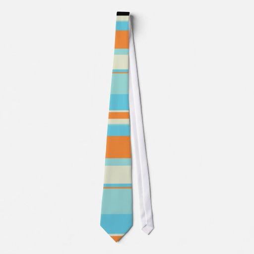 Horizontal Tonal Stripes in Soft Blue and Orange Neck Tie